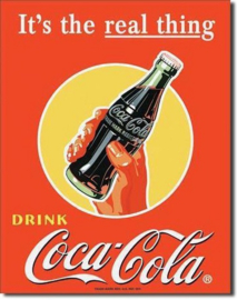 Coca Cola It's The Real Thing.  Metalen wandbord 31,5 x 40,5 cm.