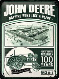 John Deere 100 years  Metalen wandbord in reliëf 30 x 40 cm