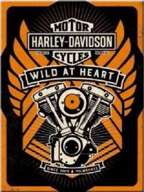 Harley Davidson Wild At Heart. Koelkastmagneet 8 cm x 6 cm.