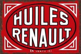 Huiles Renault . Metalen wandbord in reliëf 15 x 20 cm..
