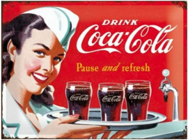 Coca Cola Pause and Refresh Metalen wandbord in relief 40 x 30 cm