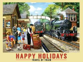 Happy Holidays Travel By Train. Metalen wandbord 30 x 40 cm.