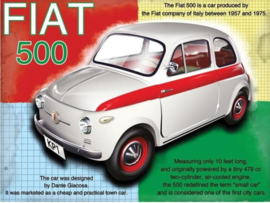 Fiat 500 Metalen wandbord 30 x 40 cm.