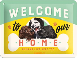 Welcome to our Home Metalen wandbord in reliëf 15x20 cm