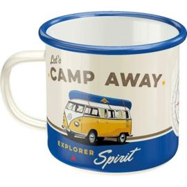 VW Bulli Lets Camp Away. Emaille Drinkbeker.