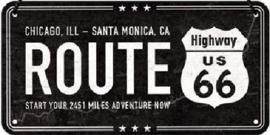 Route 66 Metalen wandbord in reliëf 10 x 20 cm.