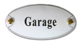 Garage Emaille Naambordje 10 x 5 cm Ovaal