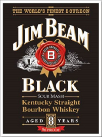 Jim Beam Black Label . Metalen wandbord 40,5 x 31,5 cm.