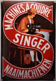 Singer Naaimachienen.  Emaille Reclamebord 35 x 50 cm.