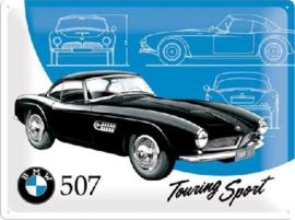 BMW 507 Touring Sport  Metalen wandbord in reliëf 30 x 40 cm.