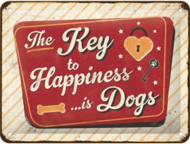The Key to Happiness Metalen wandbord in reliëf 15 x 20 cm.