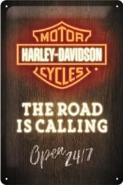 Harley-Davidson Neon Metalen wandbord in reliëf 20 x 30 cm.