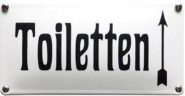 Toiletten. Pijl naar Boven Emaille bordje 20 x 10 cm.