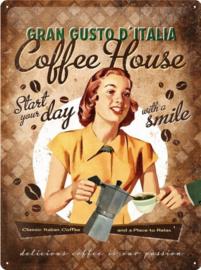 Coffee House Gran Gusto D'italia Metalen wandbord in reliëf 30 x 40 cm