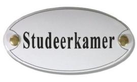 Studeerkamer Emaille Naambordje 10 x 5 cm Ovaal