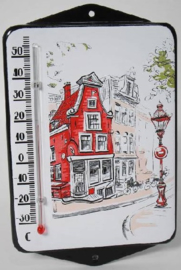 Amsterdam.  Emaille thermometer met oren.