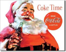 Coca Cola Santa Coke time .  Metalen wandbord 31,5 x 40,5 cm.