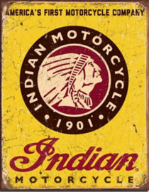 Indian Motorcycle 1901 Metalen wandbord 31,5 x 40,5 cm.