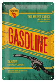 Gasoline The Biker's Choice Metalen wandbord in reliëf 20x30 cm