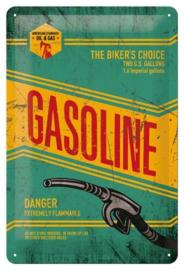 Gasoline The Biker's ChoiceMetalen wandbord in reliëf 20x30 cm