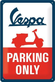 Vespa Parking Only Metalen wandbord in reliëf 20 x 30 cm.