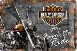 Harley-Davidson Favorite Ride Metalen wandbord in  relief 20 x 30 cm.