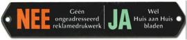 NEE / JA  Emaille Brievenbus Bordje 16,5 x 3 cm.
