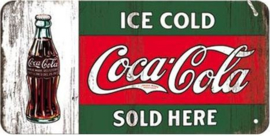 Ice Cold Coca Cola Sold Here  Metalen wandbord   in reliëf 10 x 20 cm.