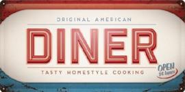 American Diner Metalen wandbord in reliëf 25 x 50 cm.