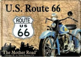 U.S. Route 66  The Mother road Metalen  Postcard 10 x 14 cm