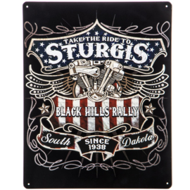 Take the ride to Sturgis. Metalen wandbord 30,5 x 38 cm.
