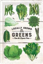 Locally Grown Greens Metalen wandbordin reliëf20 x 30 cm.
