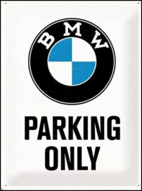 BMW parking Only  Metalen wandbord in reliëf 30 x 40 cm