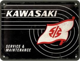 Kawasaki Tank Logo Metalen wandbord in reliëf 15 x 20 cm.