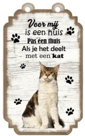 Kat gemengd ras 1. Houten tekstbordje met kat 20 x 12 cm