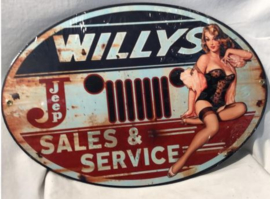 Willys Sales & Service. Stalen wandbord 45 cm x 31 cm .