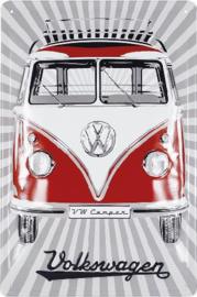 VW T1 Bus Samba Rood Metalen wandbord in reliëf 20 x 30 cm.