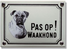 Pas op Waakhond Boxer Emaille bordje 14 x 10 cm.