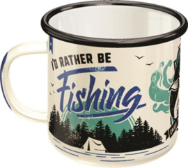I'd Rather Be Fishing. Emaille Drinkbeker H 8  Ø 8 cm