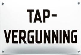 Tap Vergunning Emaille bordje 20 x 30 cm.