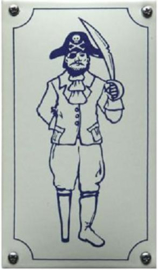 Piraat Emaille Toiletbordje 8 x 12 cm.