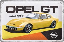 Opel GT since 1968.  Metalen wandbord in reliëf 20 x 30 cm.