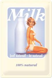 Milk. Metalen wandbord in reliëf 20 x 30 cm.