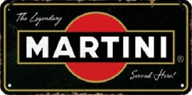 Martini - Served Here . Metalen wandbord 10 x 20 cm.