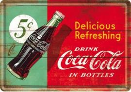 Coca-Cola 1950 Metalen Postcard 10 x 14 cm.