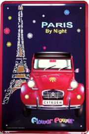 Citroen 2 CV Paris By Night Metalen wandbord 15 x 20 cm.