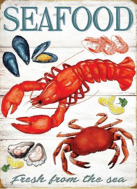 Seafood Fresh From The Sea. Metalen wandbord 30 x 41 cm.