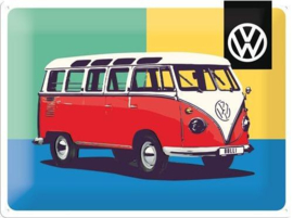 VW  Bulli Limited Edition.  Metalen wandbord in reliëf 30 x 40 cm.