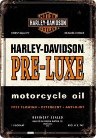 Harley-Davidson Pre Luxe oil.  Metalen Postcard 10  x 14 cm.