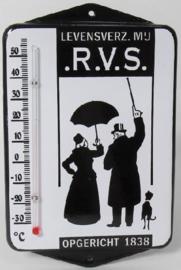 .R.V.S. Levensverz. Mij.  Emaille thermometer met oren.